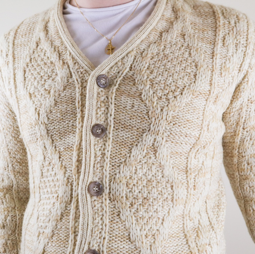 Vintage 90s knitted crochet cardigan sweater