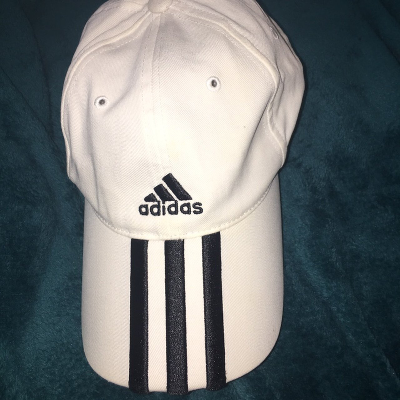 White Adidas Classic 3 Stripe Cap - Unisex Preloved but in - Depop 4842aab0684