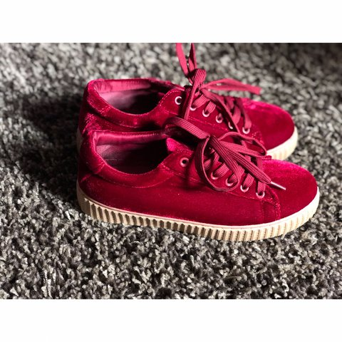 57a033771f87d5 🔥Creepers🔥 Red Velvet Creeper Sneakers Women s Size  Once. - Depop