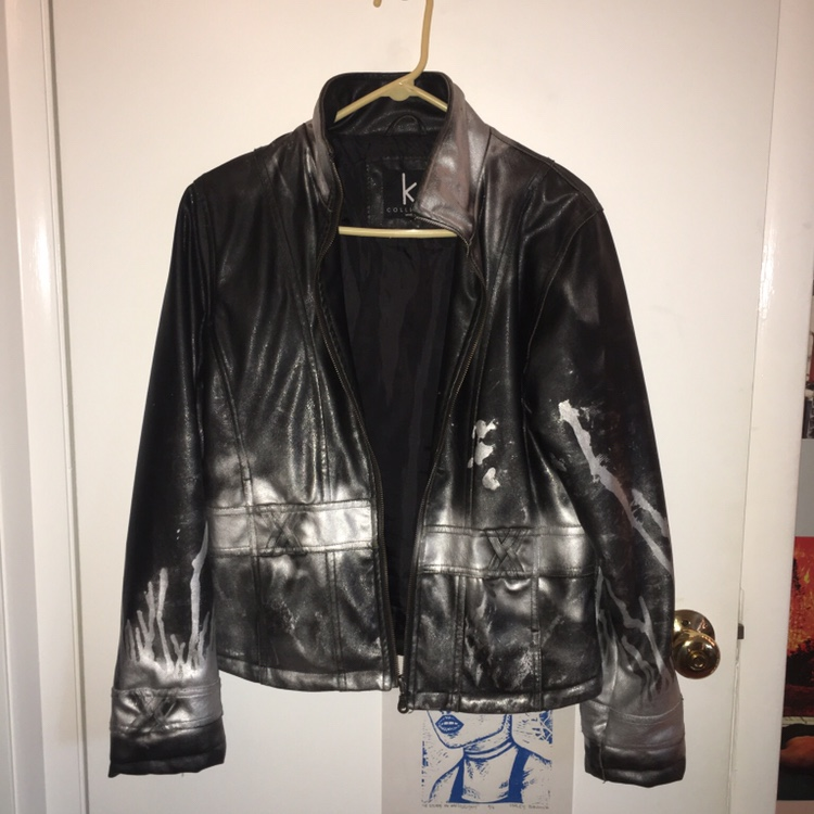 Hand Painted With Spray Paint Faux Leather Jacket Depop