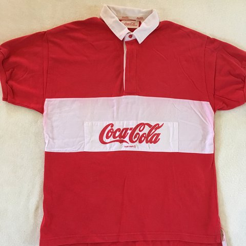 0f20d3b8 80s 90s Vintage Coca Cola Rugby Shirt Made by Coca Cola The - Depop