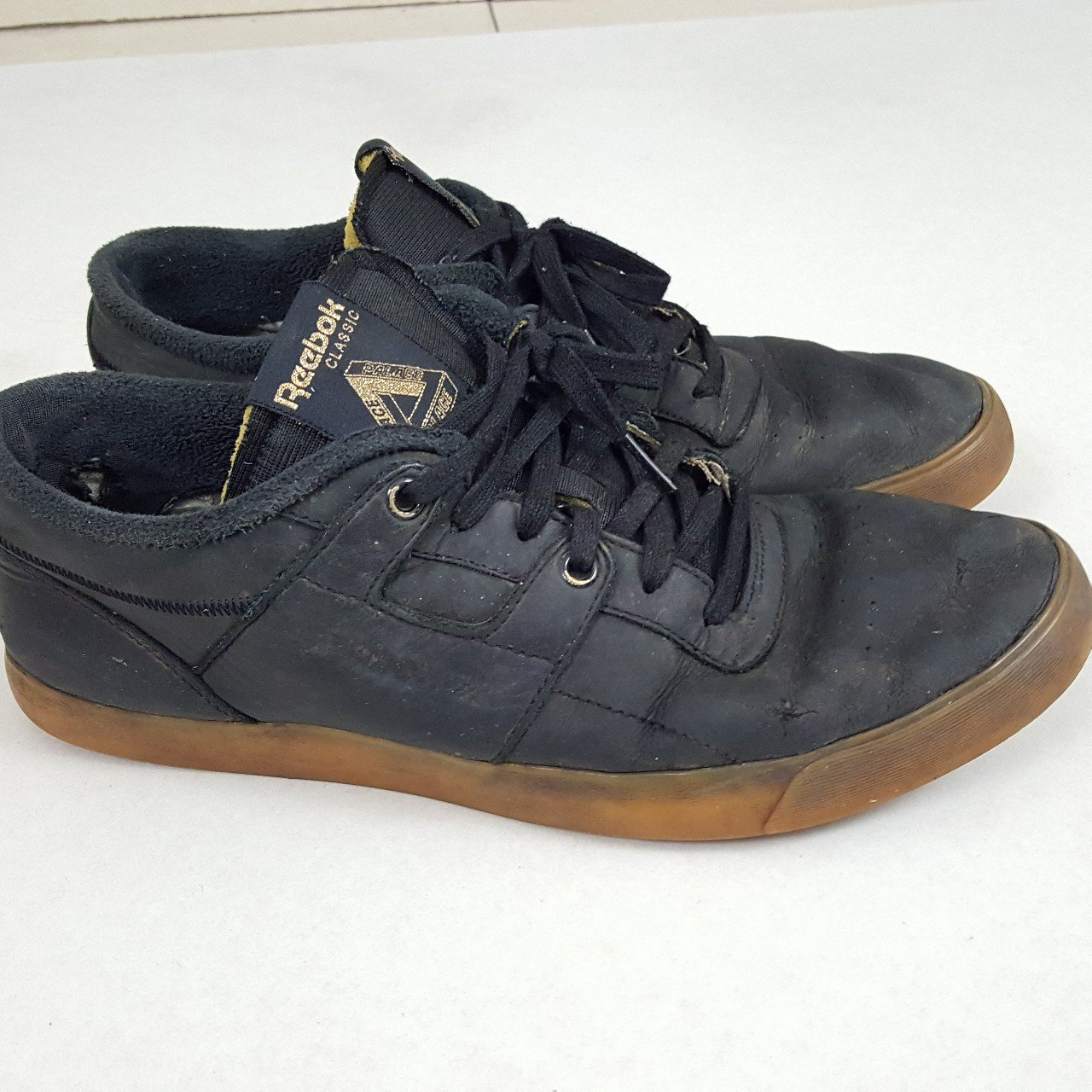 b83342379bc58 Palace x Reebok Classic Workout Low clean. Black with Gum - Depop