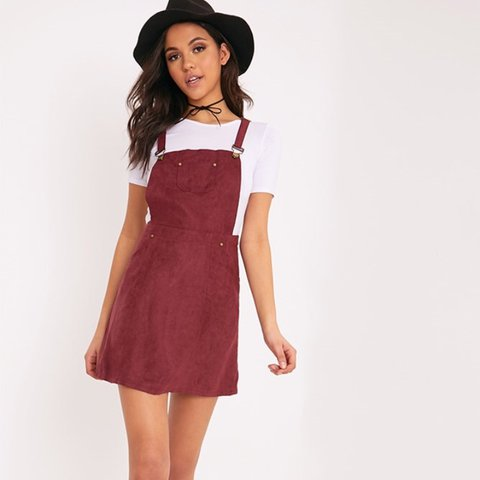 c64d4e2eac Pretty little thing faux suede burgundy pinafore dungaree so - Depop