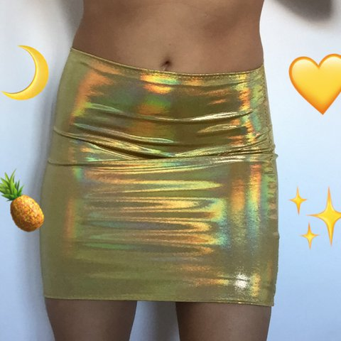 7d351cf89d5 ️SALE!!!!! £17.99 ⭐️GOLD HOLOGRAPHIC SKIRT ⭐ SIZES PRESS - Depop