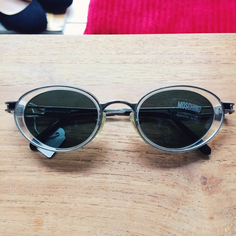 1805bbe7a9cf Moschino vintage clear and silver frame vintage sunglasses