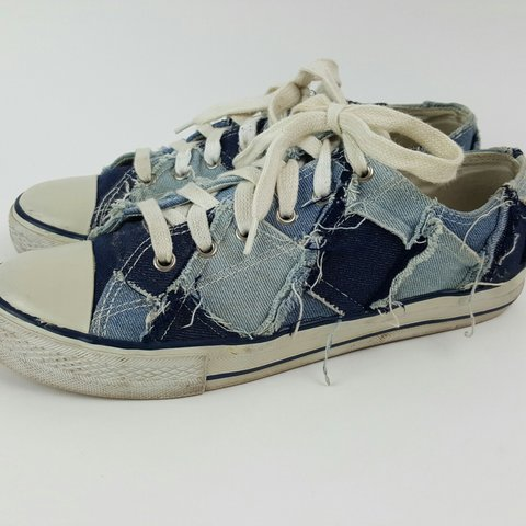 8c39fcd1c47c8e 1990s denim patch shoes! Womens Size 9 sneakers. Brand is A - Depop