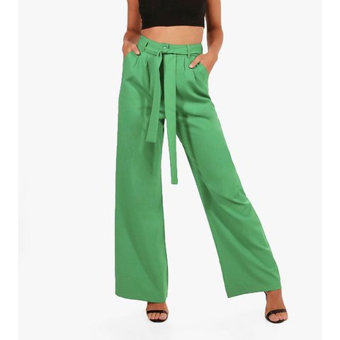 46b5436d2660 @bethanyjayw. 3 days ago. Wareham, United Kingdom. Boohoo green petite tie  waist wide leg trousers