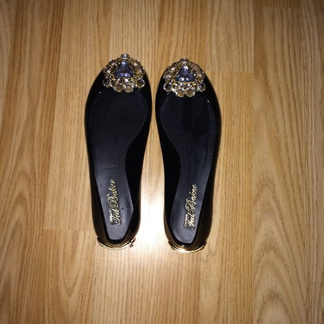 70b534fddbbf Brooch ballet pump  slip on black pumps