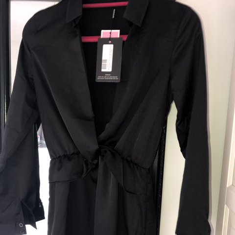1389eb897292 New with tags , black satin shirt dress , low cut front with - Depop