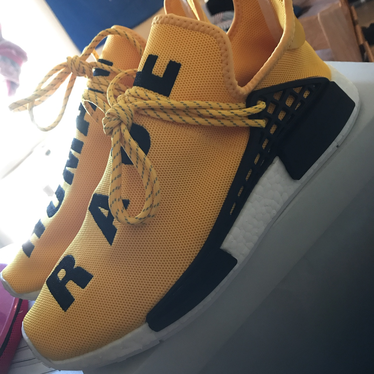best sneakers f4569 f6d88 PW HUMAN RACE NMD (Yellow) Brand NEW Comes with... - Depop