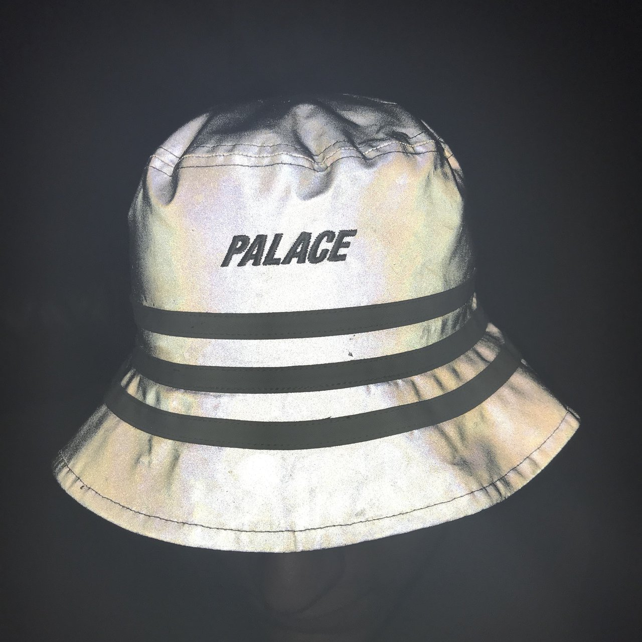 63e842dc1a810 Adidas x Palace Reflective Bucket Hat Size S M Has some on - Depop