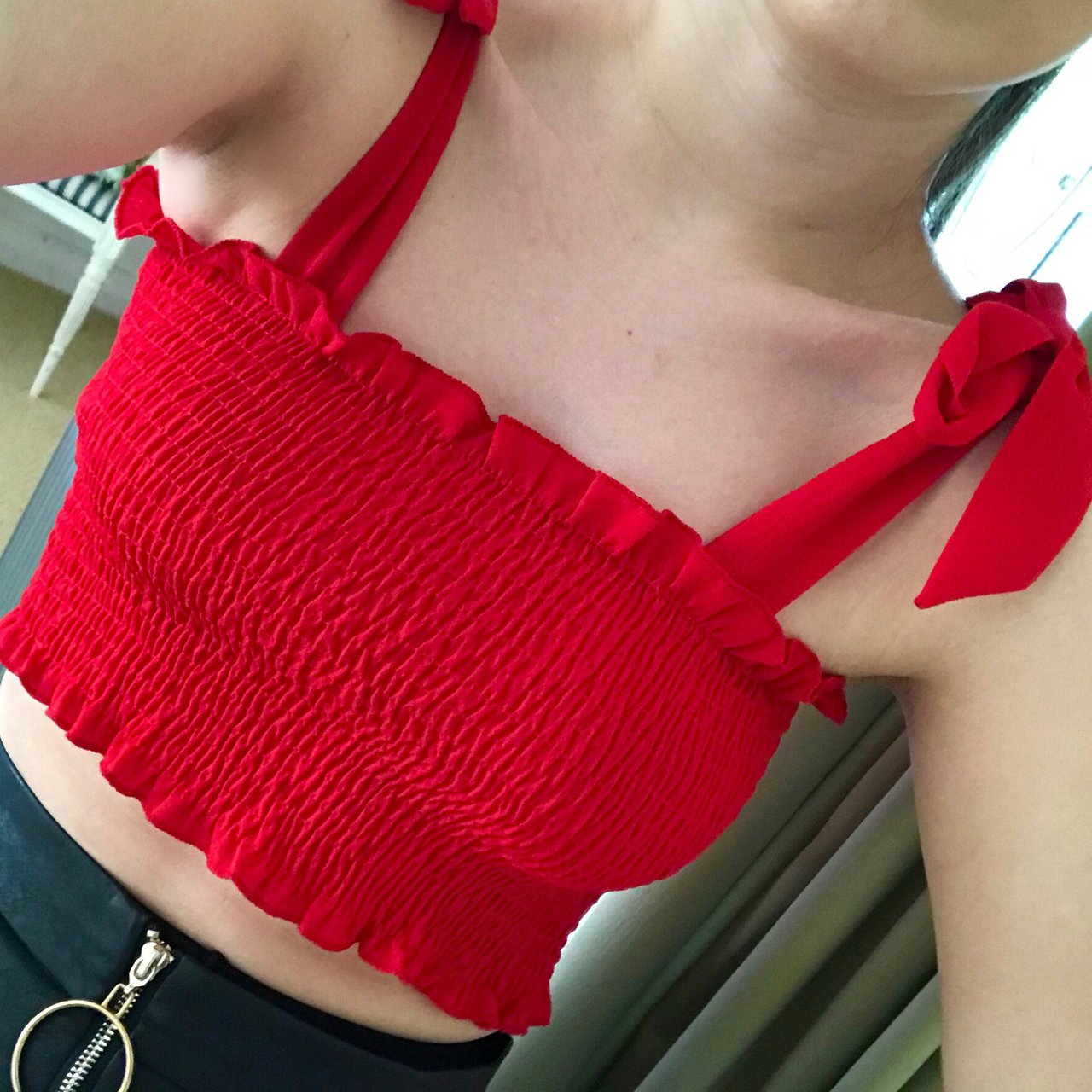 dc3e9c49a841 Ribbed Ruched Crop Top with bows ties on shoulders. Red. are - Depop