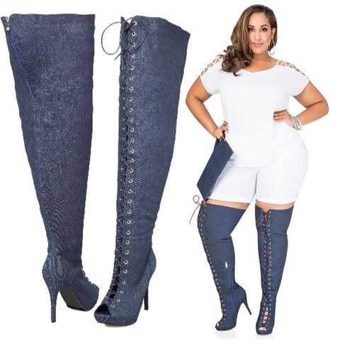 a12427a0d95  nao seych. 2 years ago. États-Unis. Ashley Stewart discontinued denim thigh  high boots.