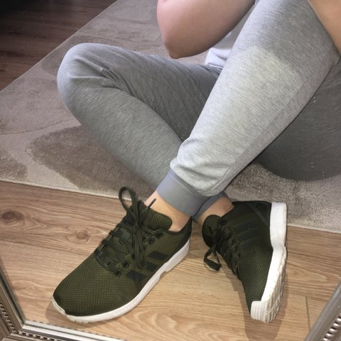 be3e08dae5268 Adidas ZX Flux Khaki Green Only worn once or twice. They re - Depop