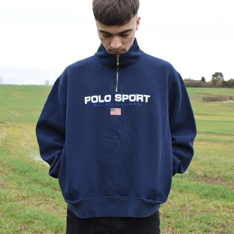 93ad28f53c8 ... where can i buy vintage navy blue ralph lauren polo sport quarter zip 1  4 depop