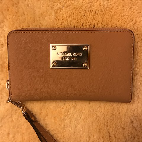 876b14e414ce Authentic Michael Kors Camel Light Brown Wallet. Genuine In - Depop