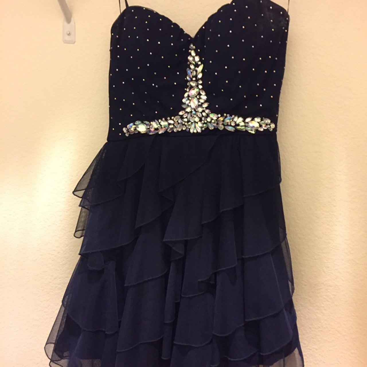 0412b7219d super cute navy blue semi formal dress with sequins on the i - Depop