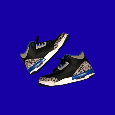 f54c52e2492b Jordan 3 Motorsport 🦋 In black and cycle blue 💙 Girls and - Depop