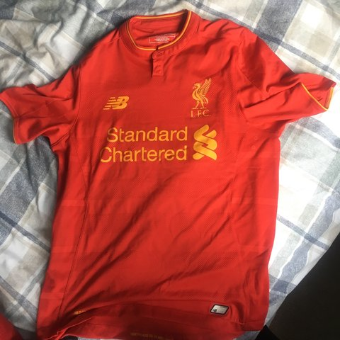 245b69b49 Liverpool home kit 2016• size small message for more - Depop