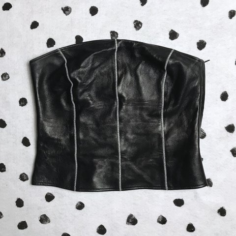 d35aeb27225 Leather tube top with side zipper! There s a white thread an - Depop