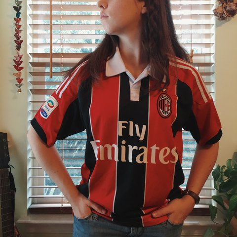 f06b0aa9f7c FREE SHIPPING** A.C. Milan collared soccer jersey with on - Depop