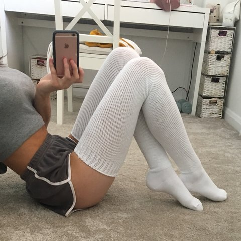811517c8441 American Apparel Thigh high socks Size  Small Free second - Depop