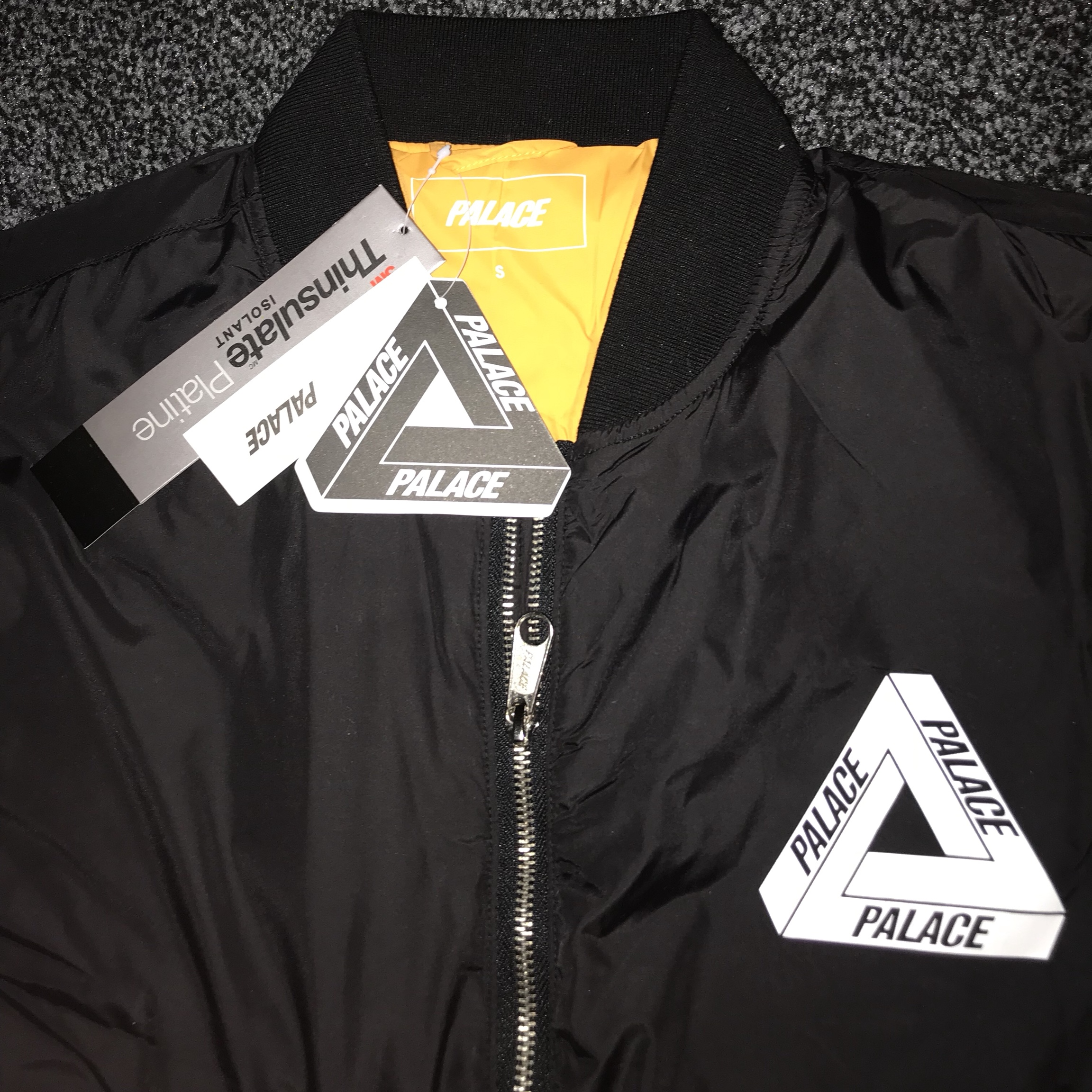 1092d1387 PALACE THINSULATE BOMBER JACKET IN BLACK PALACE MA1... - Depop