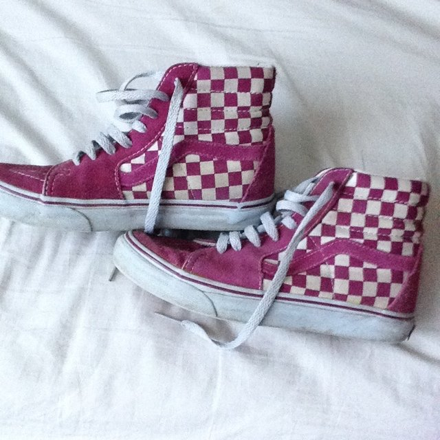 bb4839e4f06 ✨HOLD✨ Pink and white checkered Vans high tops size 7.5. I a - Depop