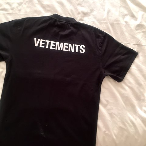 3bf7e14162ac Vetements staff tee • black with white logo • size small - • - Depop