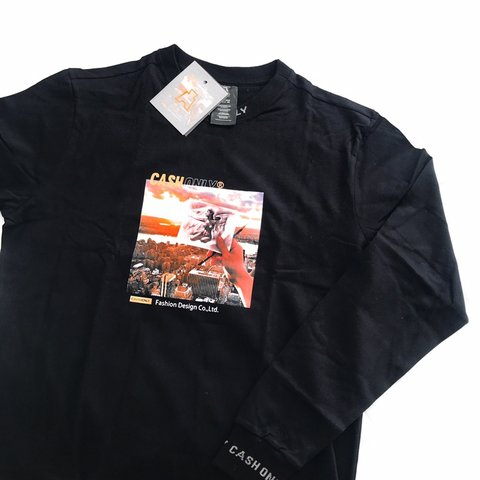 803fb7d3 @lydiaclear. 28 days ago. Lancing, United Kingdom. CashOnly graphic tee.  Black with orange logo. High neck long sleeve top. Size L ...