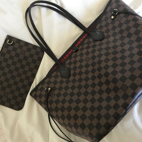 3c4062af2656 Louis Vuitton neverfull damier bag (with red interior) - - Depop
