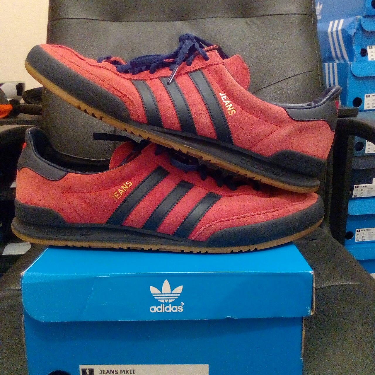 Adidas jeans MKII Red/navy/gum Size 10