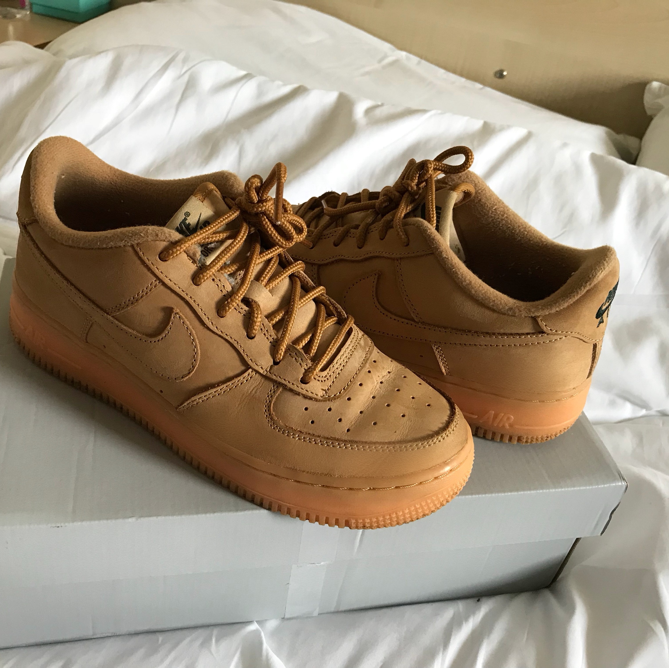 Camel suede low Nike Air Force 1's