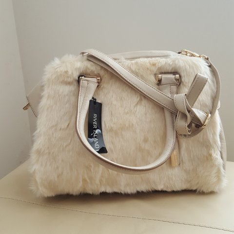 e6b0071dcf River Island Cream Faux Fur bag with long strap. New with A4 - Depop