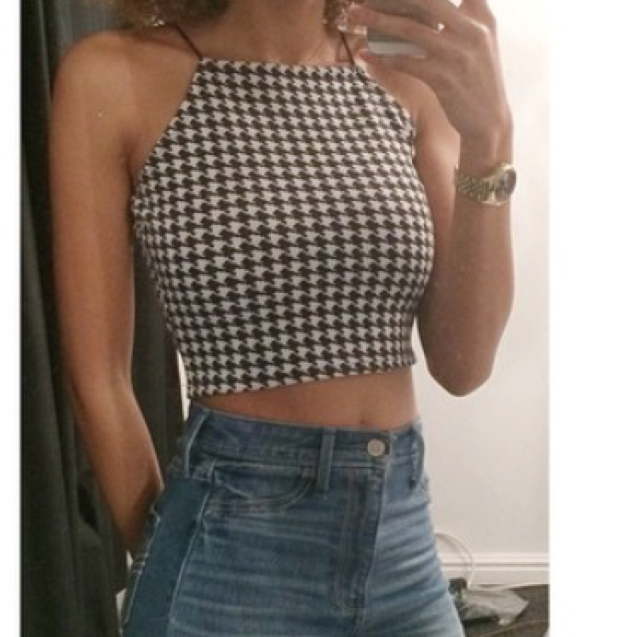 ae43b7503bff2a Black and white patterned strappy crop top from Missguided. - Depop