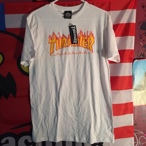 b9357aab5c70 Thrasher Magazine white flames t-shirt Brand new never worn - Depop