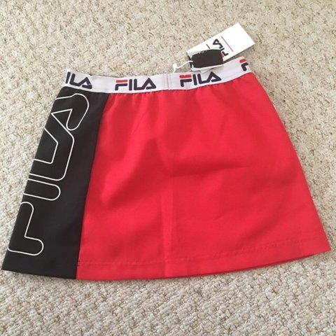 3427526e8f52 @rbissett7. 2 years ago. Rush, Ireland. Vintage Style Fila red black and white  tennis skirt ...