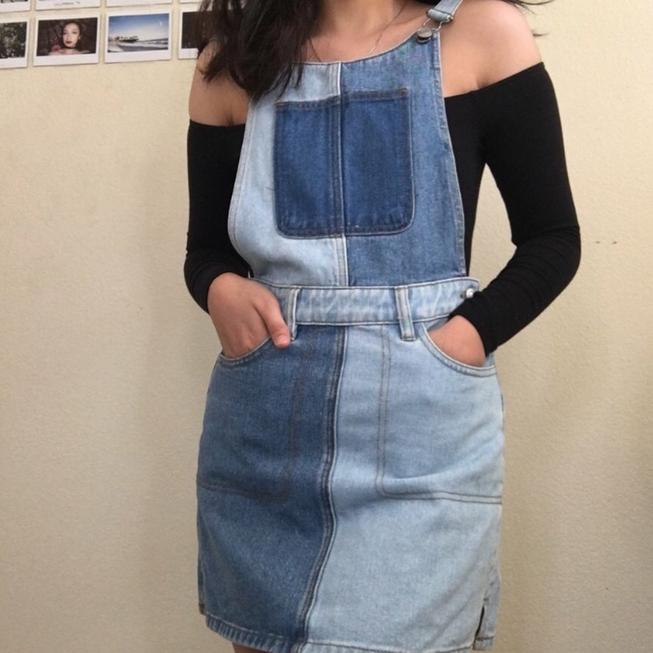 f4bb9c4b1b Pacsun two tone overall denim dress. Tagged as size xs is ✨ - Depop