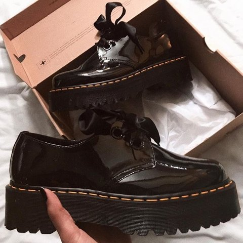 5fa618212a5c Dr. Martens Molly Platform Creeper Style Shoes with Ribbon