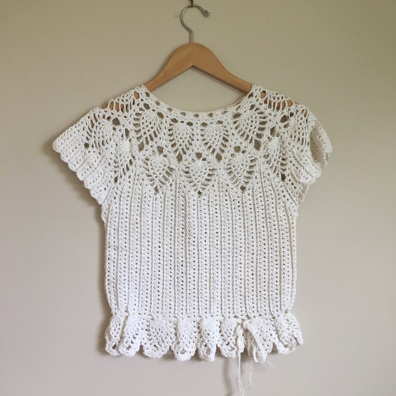 lace-up top crochet Argema Top hand-made cotton