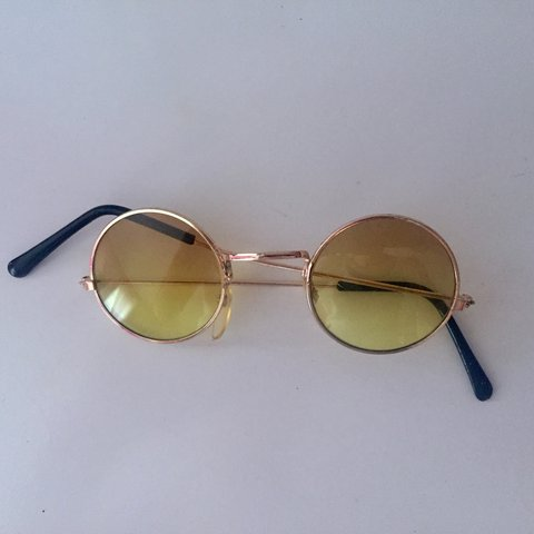 5e07d27249 VINTAGE circle round sunglasses. Yellow tinted lenses. Rose - Depop
