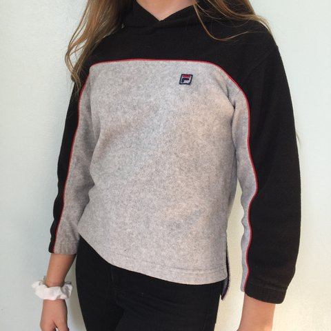 a0e7a65df9b0 Fleece fila half-zip hoodie!! Obsessed with the patch and on - Depop