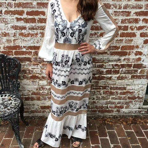 855120833f Long sleeve maxi dress with sheer panels. Embroidery pattern - Depop