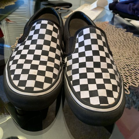 custom vans black and white checkered slip ons. pro 10 8.5 9 - Depop bfb7f2e9a