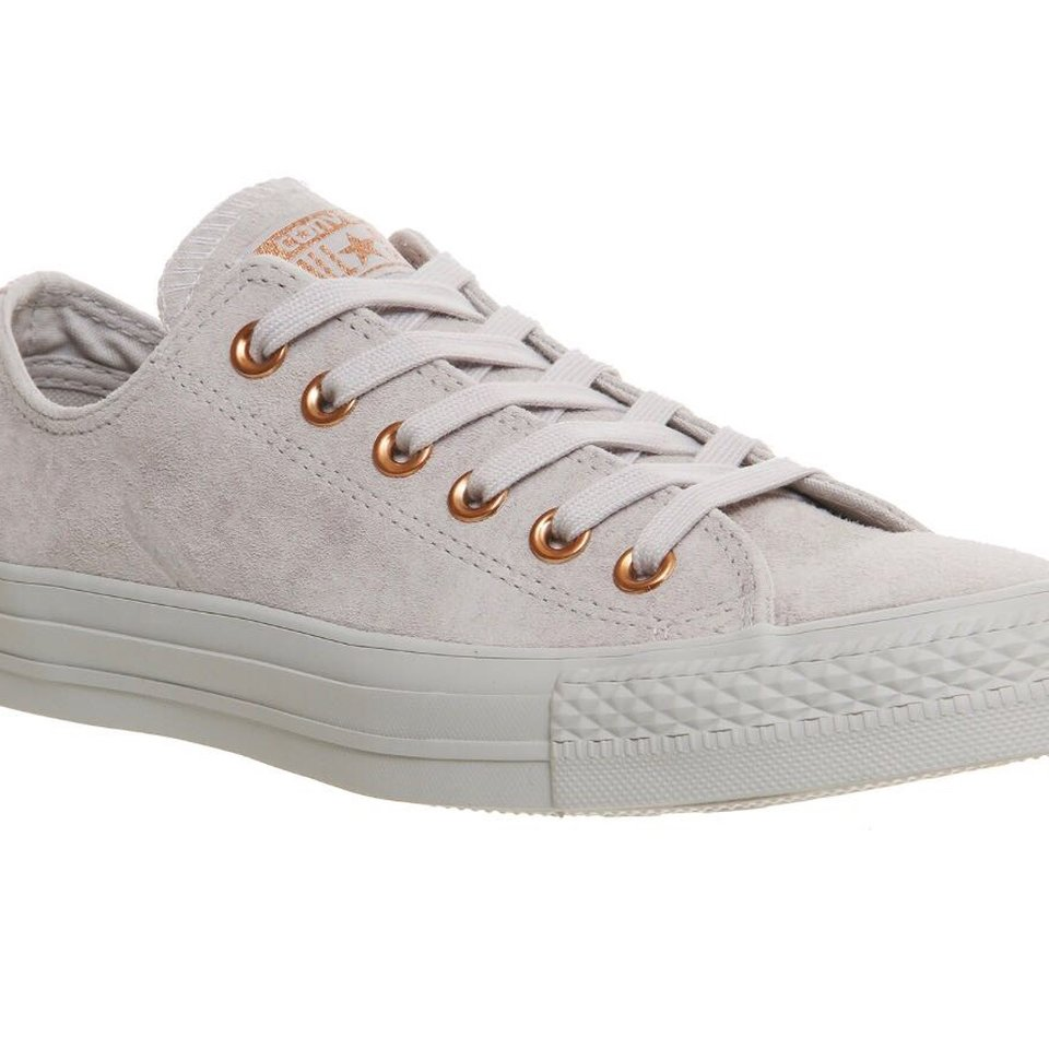 Converse grey suede rose gold trainers
