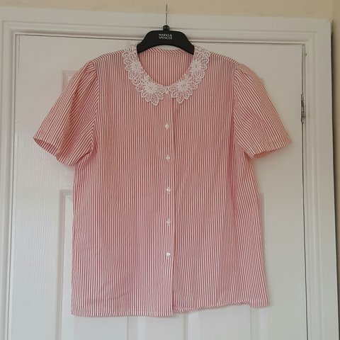 e36bdd3e Vintage red and white stripe button up shirt with lace Small - Depop