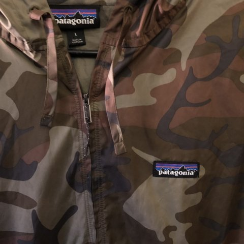 3550d559e89d1 Patagonia Dark Camo Windbreaker. Zippered front with two and - Depop