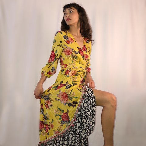 64dc046566a1 Floral printed wrap maxi dress from Anthropologie. Listed as - Depop