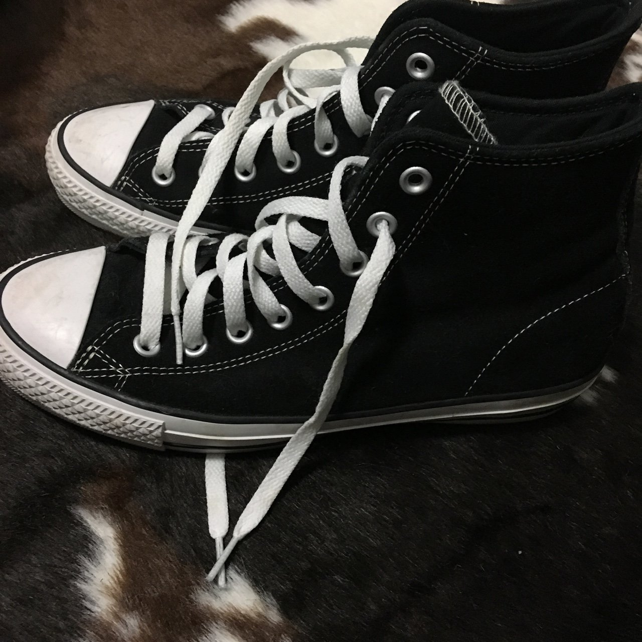 d6129355b8ad3a Black and white pro model Converse high top ~ suede   extra - Depop
