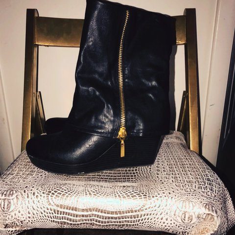 c3ebe1a6504f Fold over wedge slouch boots with gold zipper detail - Depop